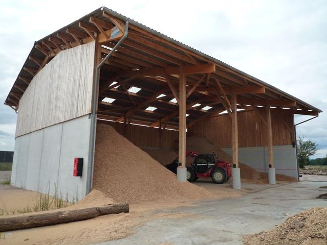 Hangar de stockage plaquette forestière Bourgogne